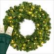 "24"" Commercial Sequoia Fir Prelit Wreath, 50 Warm White LED 5mm Lights"
