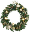 Royal Gold Battery Operated LED Holiday Wreath, Warm White Lights