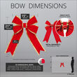 """15"""" Red with Gold Trim Structural 3D Velvet Bow"""