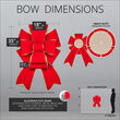 """18"""" Red with Gold Trim Blooming Puff Velvet Bow"""
