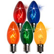 C9 Twinkle Multicolor Double Dipped Transparent Bulbs