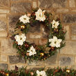 Vermont White Battery Operated LED Holiday Wreath, Warm White Lights