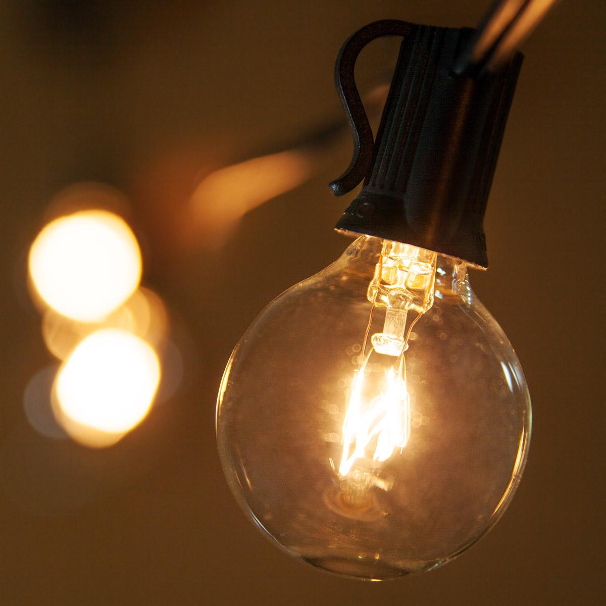Clear Globe String Lights, G40 E12   Candelabra Bulbs On Black Wire