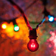 100' Commercial Multicolor Patio String Light Set with 75 S11 Bulbs on Black Wire