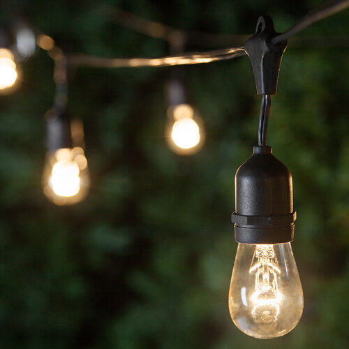 Commercial Clear Patio String Lights S14 E26 Medium Bulbs On Black Wire With Drops