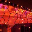 150 Orange, Purple Mini Icicle Lights on Black Wire