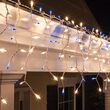 150 Blue, Clear Mini Icicle Lights on White Wire