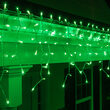 100 Green Mini Icicle Lights on White Wire