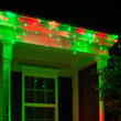 70 Green, Red 5mm LED Icicle Lights on White Wire