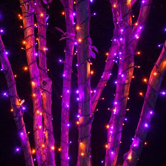 5mm wide angle purple orange led christmas lights on black wire