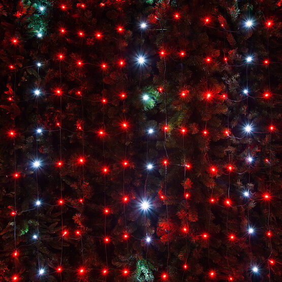 4 x 6 red cool white twinkle 5mm led christmas net lights