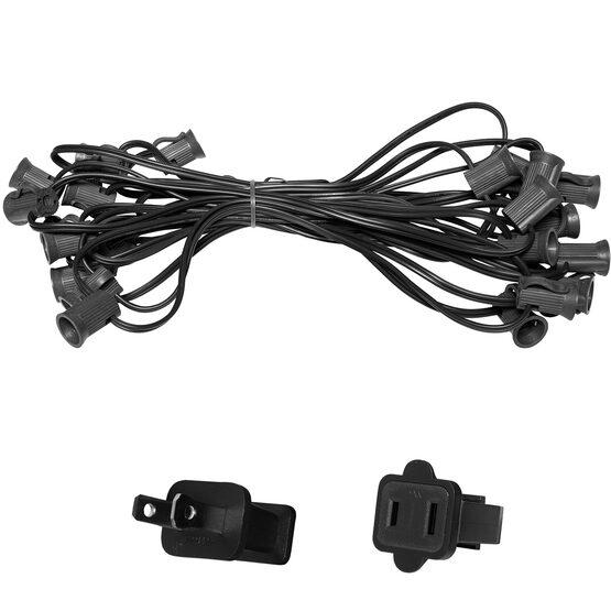 E12 - Candelabra Light Stringer, Black Wire