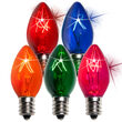 C7 Twinkle Multicolor Triple Dipped Transparent Bulbs