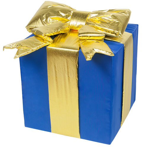 Image result for blue and gold present