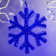 18 Point Snowflake with Blue Acrylic Center, Blue Lights