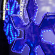 6 Point Snowflake with Blue Acrylic Center, Blue Lights