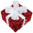 """16"""" Red and White LED Dimensional Outdoor Christmas Gift Box"""