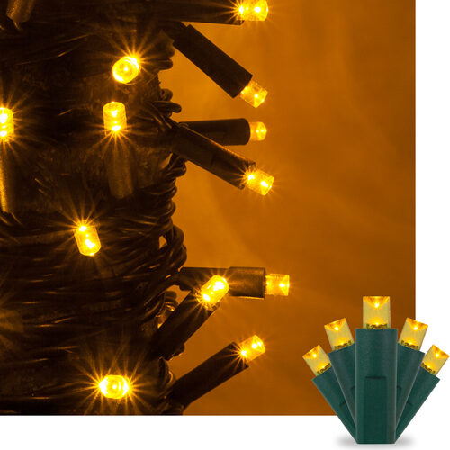 kringle traditions 5mm gold led christmas lights on green wire