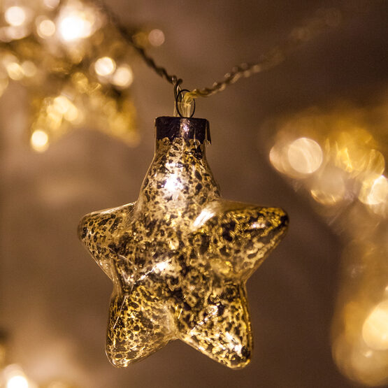 Battery Operated Led Iridescent Gold Gl Star String Lights 10 Warm White