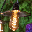 Warm White FlexFilament TM Antiqued Glass Patio String Light Set with 3W ST64 E26 LED Edison Bulbs on Black Wire, Copper Shades