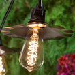 Warm White FlexFilament TM Glass Patio String Light Set with 3W ST64 E26 LED Edison Bulbs on Black Wire, Copper Shades
