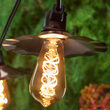 Warm White FlexFilament TM Antiqued Glass Patio String Light Set with 5W ST64 E26 LED Edison Bulbs on Black Wire, Copper Shades