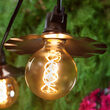 35' FlexFilament Antiqued LED Patio String Light Set with 7 G95 Edison Bulbs on Black Wire