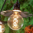Warm White FlexFilament TM Glass Patio String Light Set with G95 E26 LED Edison Bulbs on Black Wire, Copper Shades