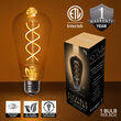 35' FlexFilament Antiqued LED Patio String Light Set with 7 5W ST64 Edison Bulbs on Black Wire