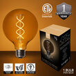 Warm White FlexFilament TM Antiqued Glass Patio String Light Set with G95 E26 LED Edison Bulbs on Black Wire, Copper Shades
