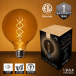Warm White FlexFilament TM Antiqued Glass Patio String Light Set with G125 E26 LED Edison Bulbs on Black Wire, Copper Shades