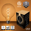 Warm White FlexFilament TM Glass Patio String Light Set with G125 E26 LED Edison Bulbs on Black Wire, Copper Shades