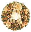 "36"" Harvest Gold Deluxe Prelit Wreath, 150 Clear Mini Lights"