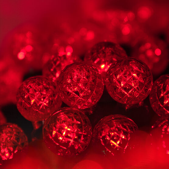 g12 razzberry red led christmas lights on green wire