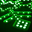 Ultra Bright SMD Diamond Tipped Snowflake, Green Lights
