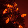C6 Strawberry Amber LED Christmas Lights on Green Wire