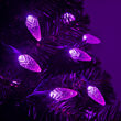 C6 Strawberry Purple LED Christmas Lights on Green Wire