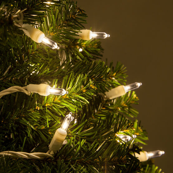 T5 Warm White Led Christmas Tree Lights On White Wire