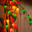 Chili Pepper Cluster Light Set, 35 Multicolored Lights, Green Wire