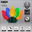 C7 Multi Color LED Christmas Lights on Green Wire