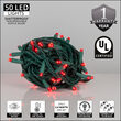"Kringle Traditions 5mm Red LED Christmas Lights, Green Wire, 6"" Spacing, Balled Set"