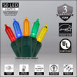 T5 Multi Color LED Christmas Tree Lights on Green Wire