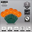 G12 Razzberry Amber LED Christmas Lights on Green Wire