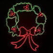 Large Christmas Wreath Motif, Red and Green Lights