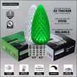C9 Cool White / Green OptiCore Commercial LED Christmas Lights, 50 Lights, 50'