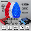C7 Red / White / Blue OptiCore Patriotic LED Pathway Lights, 75 Lights, 4.5 Inch Stakes, 75'