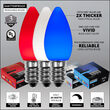 Red, White and Blue OptiCore TM LED Patio String Light Set with C7 E12 Bulbs on White Wire