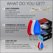 Red, White and Blue OptiCore TM LED Patio String Light Set with C9 E17 Bulbs on White Wire