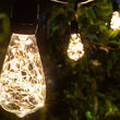 30' Warm White LEDimagine TM Patio String Light Set with 10 ST64 Fairy Light Bulbs on Black Wire, with Drops