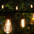 30' FlexFilament LED Patio String Light Set with 10 5W ST64 Edison Bulbs on Black Wire, with Drops